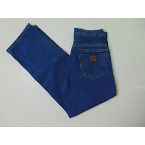 Carhartt 30 X 30 Flannel Lined Blue Jeans Straight